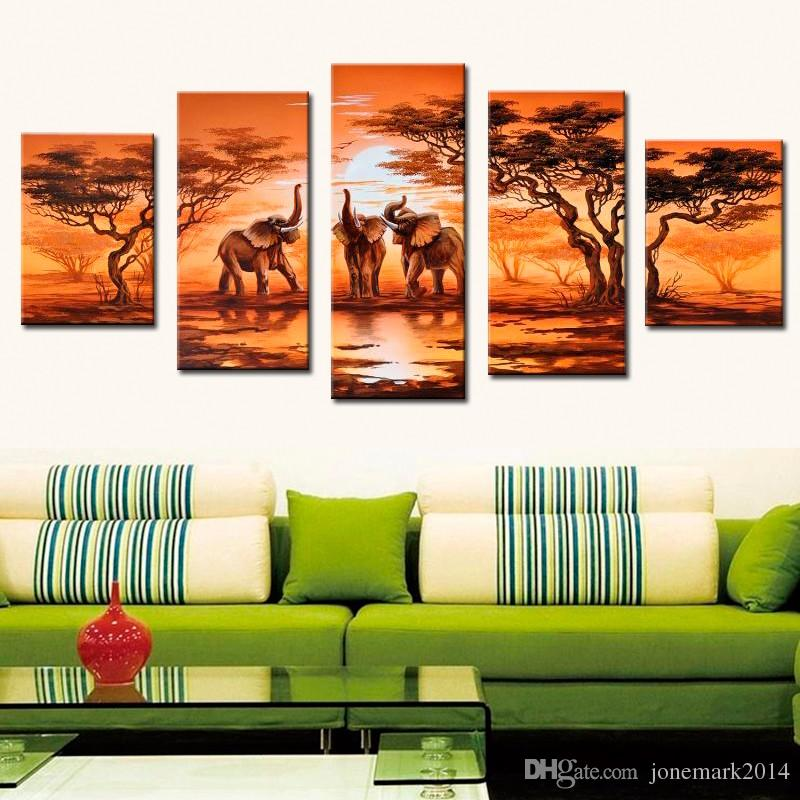 5 Pz / set Senza cornice Dipinto a mano Arte africana moderna Elefanti Live Wall Decoration Pictures Handmade Landscape Oil Painting