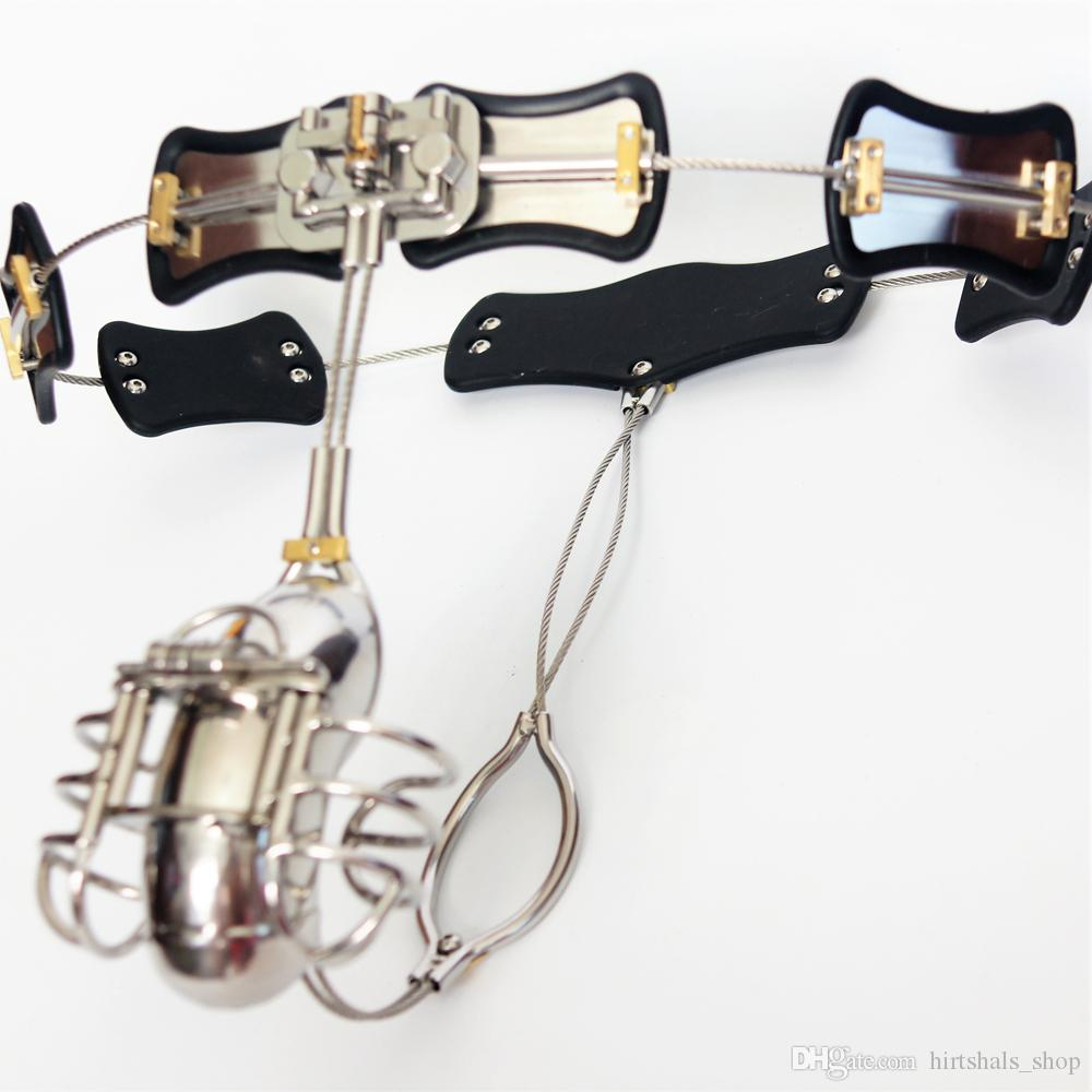 2017 New Male Chastity Devices Adjustable Stainless Steel Curve Waist Chastity Belt with Full Closed Winding Cock Cage BDSM Sex Toy bondage