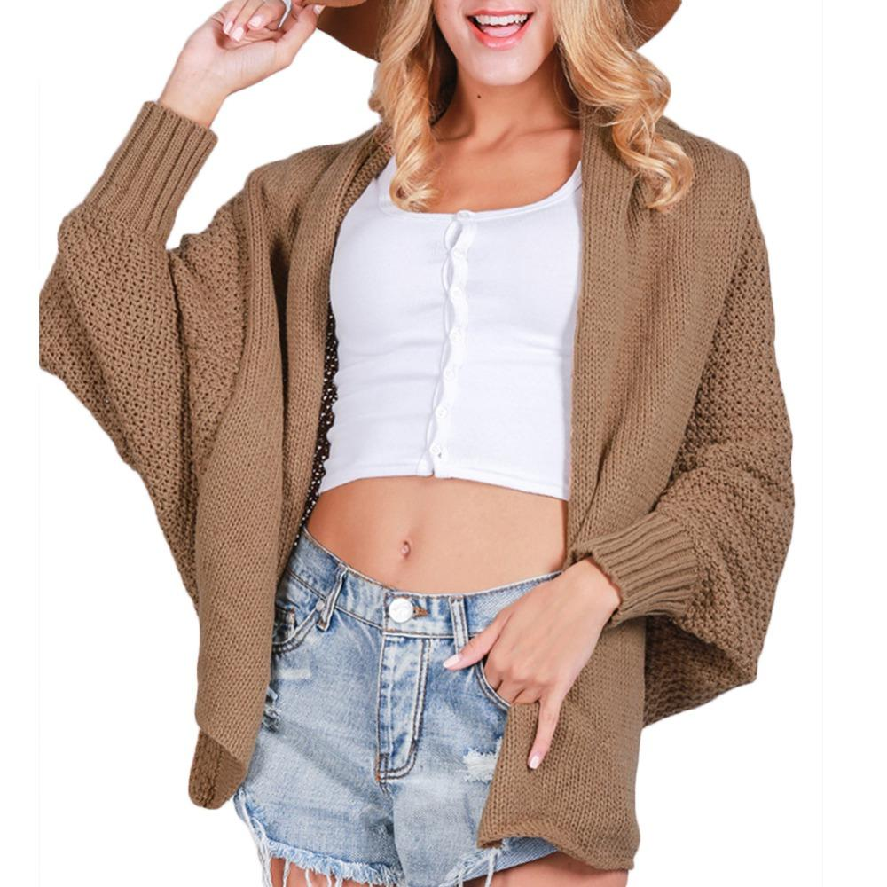 fc6d0ea34 2019 Wholesale Long Cardigan Sweater Fashion Women Autumn Winter Knitted Jumper  Sweater Oversized Loose Batwing Sleeve Warm Knitwear Coat Maxi From Tuhua