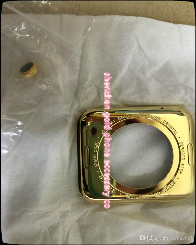 Luxury 18K rose Gold Plating Metal Back Cover Case Housing For Apple Watch for iwatch Editio18Kt Bezel Frame Faceplate 38 42 MM