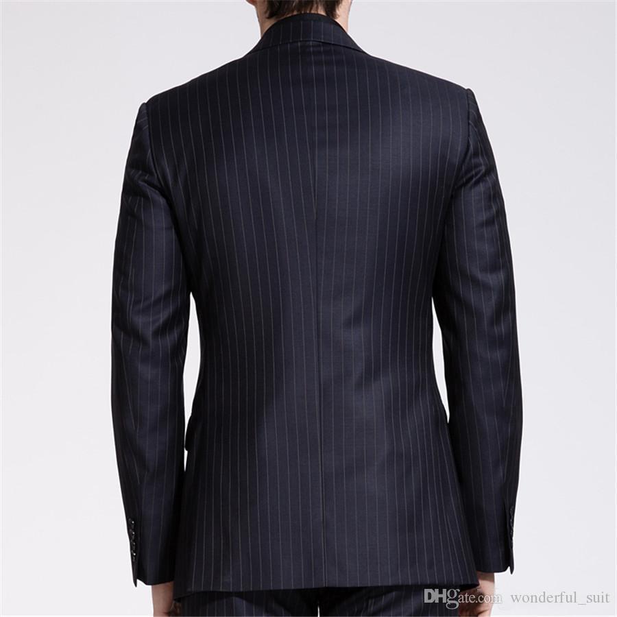 Maschio 3 Pezzi vestito 2017 sottile convenzionale nero Suits banda sposo abito da sposa vestito gli uomini giacca sportiva con gilet pantaloni Tie