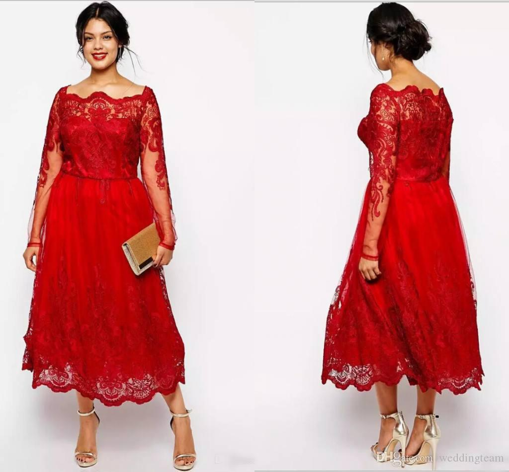 Red Plus Size A Line Formal Evening Dresses Long Sleeves Lace ...