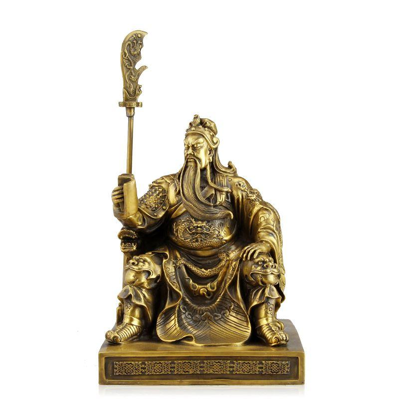 A copper ornaments with knife Fortuna Wu Guan Yu Guan Guan Erye seated reading public relations