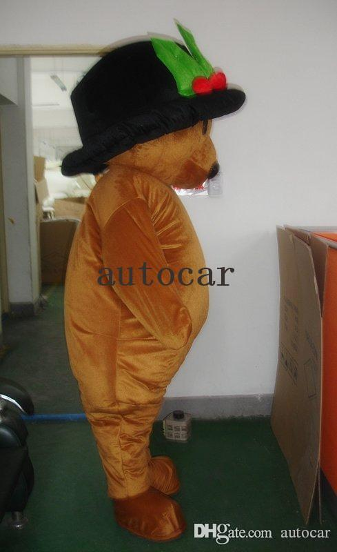 Brown black hat teddy bear Cartoon Character Costume mascot Custom Products custom-made