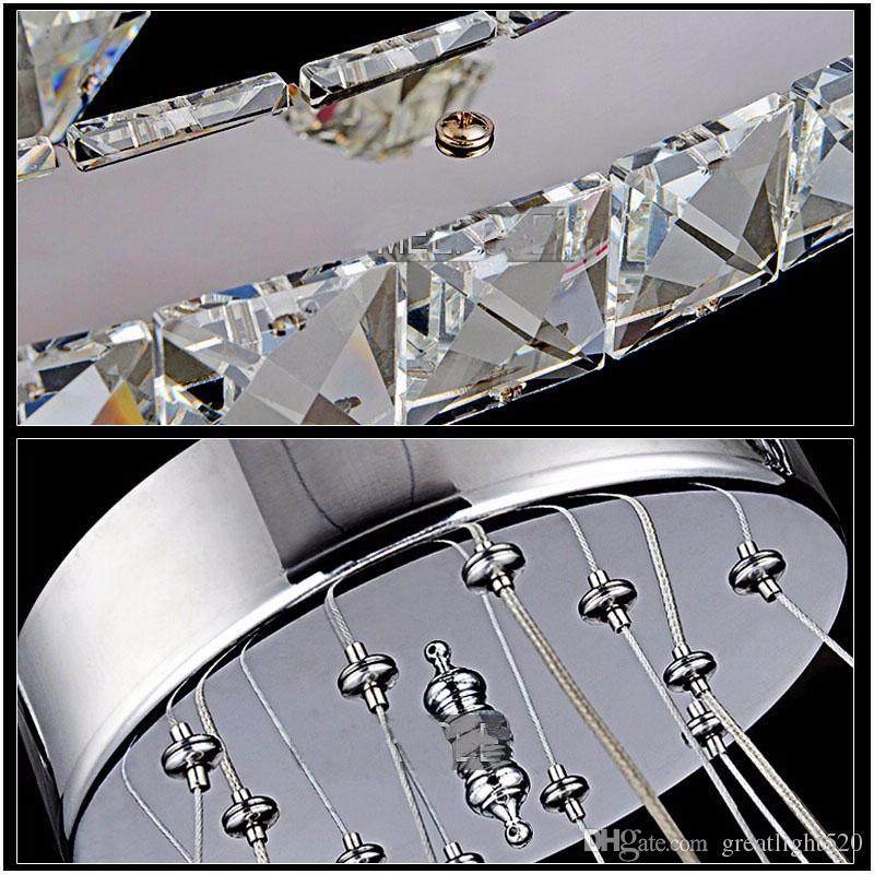 Moderno DIY K9 Crystal Chandelier LED Round circel Circel Pingente Iluminação 3/2 Anéis Pendurado Lâmpada Lustre Lustre Cozinha Candelabro