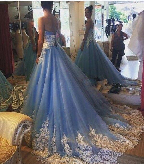 Светло-голубые свадебные платья Красочные Милая без рукавов Кружевные аппликации Тюль Свадебные платья с шнуровкой на шнуровке Назад