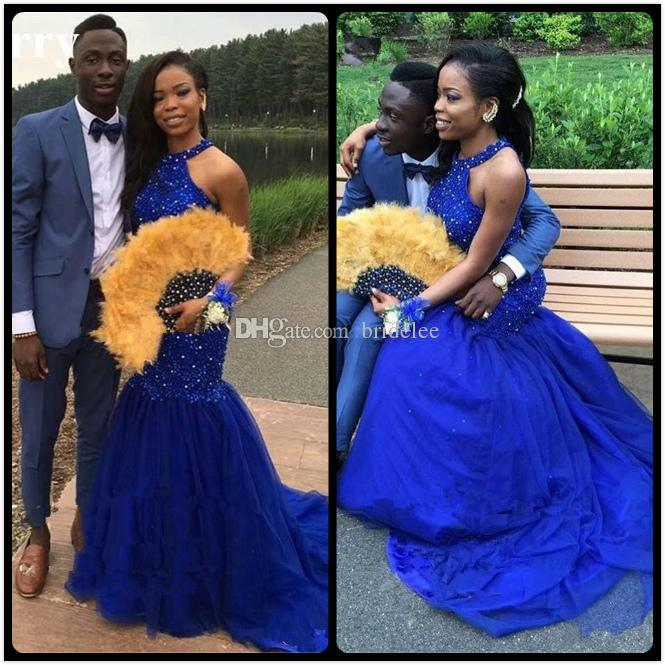 Sexy Open Back Royal Blue Mermaid Evening Dresses Long 2018 Halter Neck Crystal Lace Tulle Black Girl Women Evening Gowns