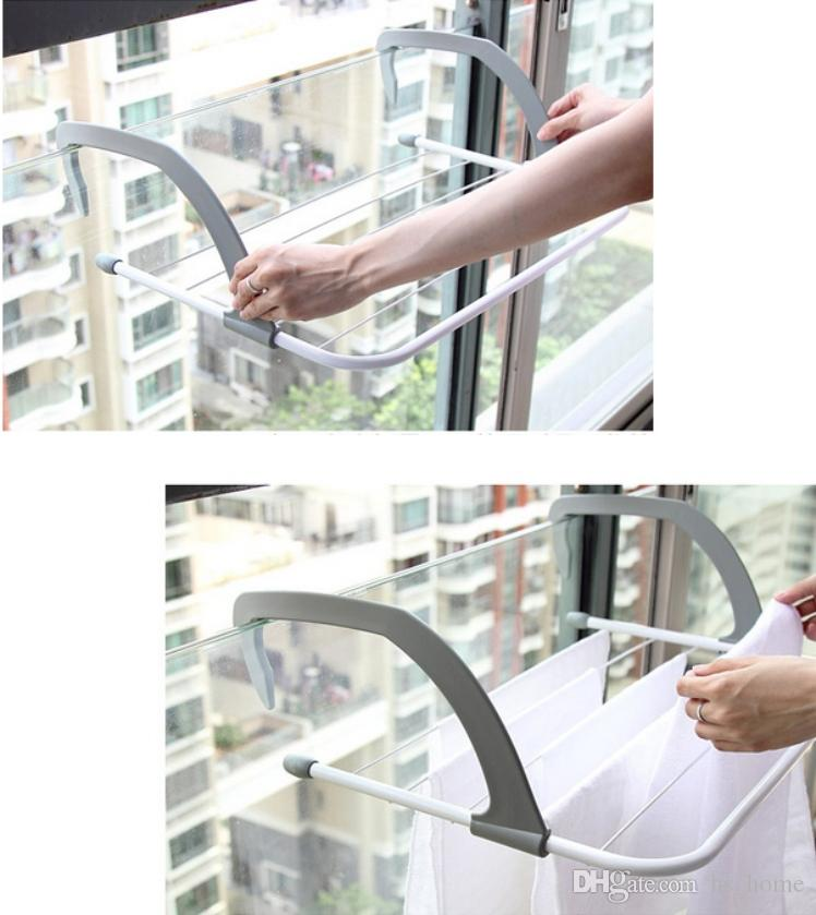 Indoor/Outdoor Easy Install Folding Clothes Drying Rack-Hanging over the door or on Bathroom Windowsill Guardrail Corridor Balcony .