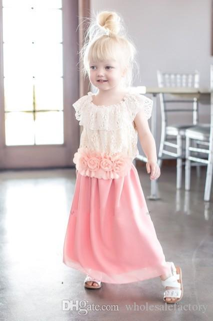 Cute Pink Mint Flower Girl Dress A Line Jewel Neck Lace Top Chiffon Skirt and Flower Sash for Belt Spring Summer Occasions Dress