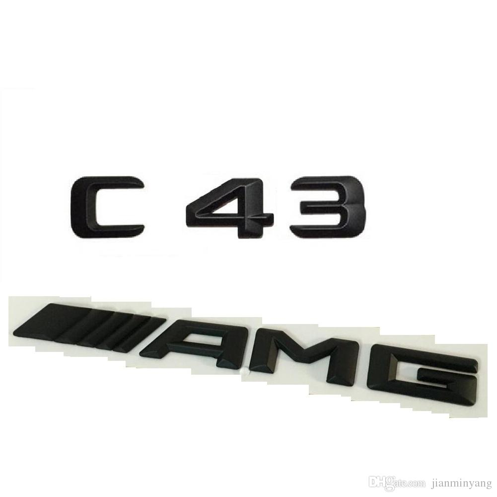Schwarz Nummer Briefe Kofferraum Emblem Aufkleber Für Mercedes Benz C43 Amg