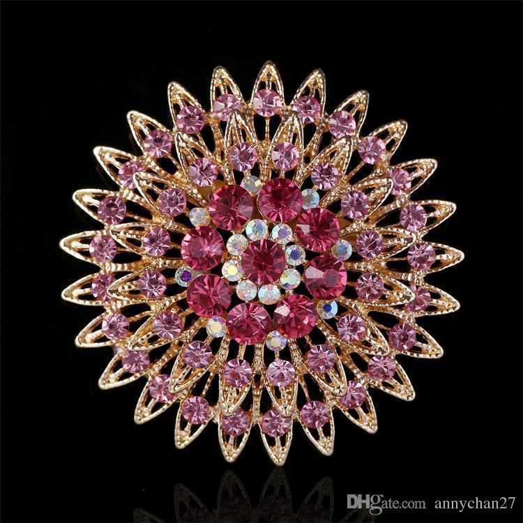 Bouquet di fiori di papavero spilla Bouquet di spilla gioiello rosso blu viola verde marrone rosa bianco cristallo rotondo cammeo molti colori DHL libero