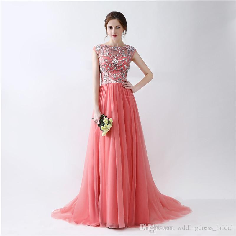 cacd9f6c8 Formal Gowns Vestidos De Noche Largos Elegantes 2019 Sleeveless Beaded  Crystals Floor Length Evening Dresses Cheap Long Prom Dress Canada 2019  From ...