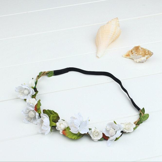 Mujeres del partido de Bohemia de Navidad hecho a mano flor de la boda de la corona de la guirnalda nupcial del tocado de la venda de Hairband venda de los accesorios del pelo