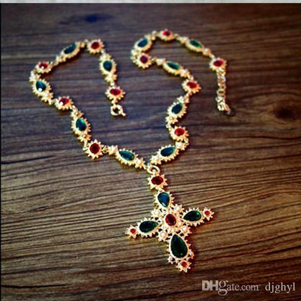 Новый известный дизайн австрийский хрусталь металлическая цепь красочные камень жемчуг крест длинный свитер ожерелье старинные барокко ожерелья бесплатная доставка