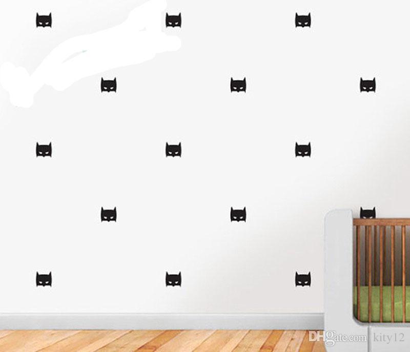 24 قطعة / المجموعة الجملة باتمان قناع ملصقات الحائط الطفل الحضانة الأطفال نوم للإزالة جدار الشارات ديكور المنزل diy الفينيل صائق