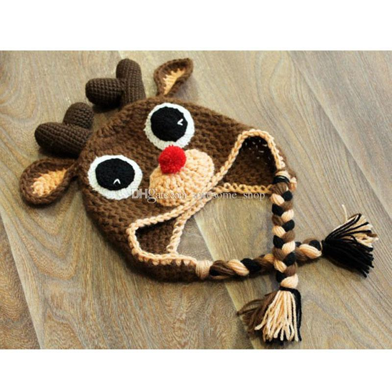 Handmade Crochet Cute Rudolph Red Nosed Moose Hat,Baby Boy Girl Christmas Reindeer Hat,Infant Animal Cap,Toddler Photo Prop