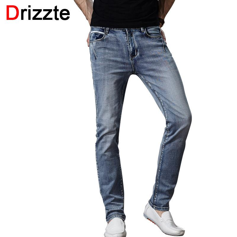 f7514601 2019 Wholesale Drizzte Brand Mens Jeans Trendy Stretch Blue Grey Denim Men  Slim Fit Jeans Trousers Pants Size 30 32 34 35 36 38 40 42 Jean From Oott, …
