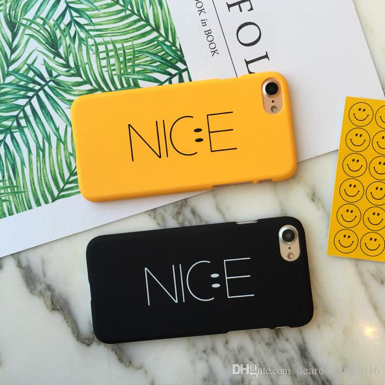 Smile Face Nice Letters Frosted PC Hard Phone Case for iPhone 7 6 Apple iPhone6 6S Plus 5S SE for Lovers Man Woman