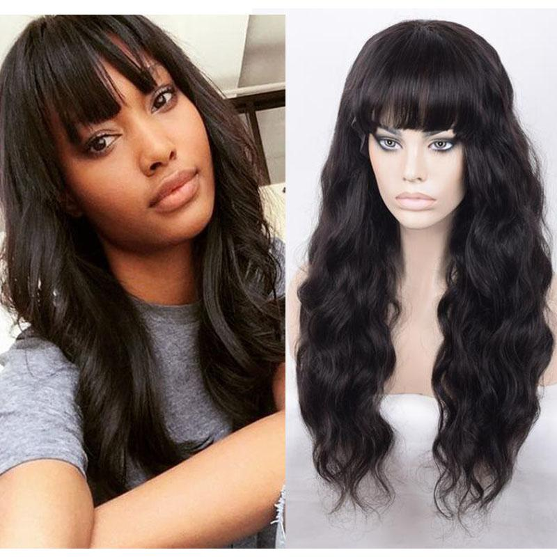 Unprocessed high quality human hair cambodian hair full lace wig with bangs body wave wholesale lace front wigs
