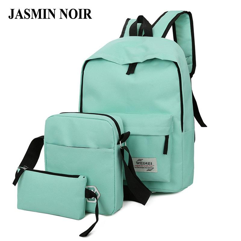 Wholesale 2017 Fashion Design Women Solid Backpack Girl High Quality Canvas  Zipper School Bag Lady Soft Back Three Pieces Set For Travel Camera Backpack  ... f7f115dc06ee8