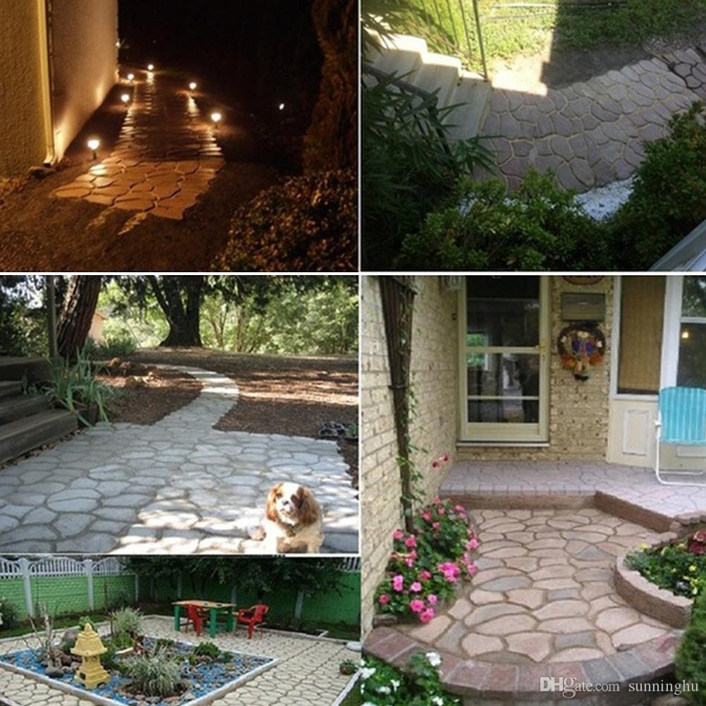 DIY Plastic Path Maker Mold Cement Brick Molds Stone Road Auxiliary Tools  Manually Paving For Garden Decor 43 5*43 5cm