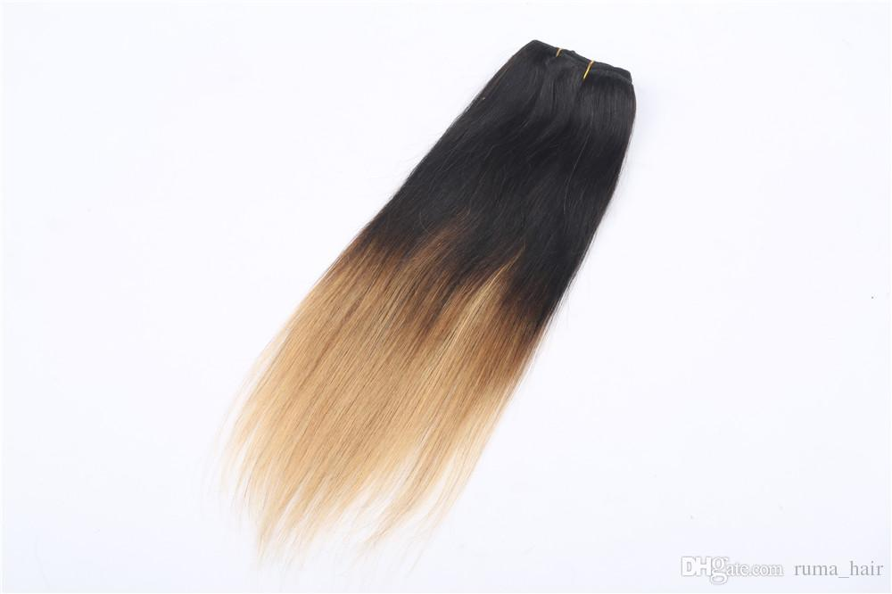 Straight Bundles Brazilian Straight Hair Extensions Ombre Human Hair Weaves Ombre 1B 27 Honey Blonde Brazilian Striaght Hair Extensions