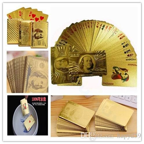Statue of Liberty Style Waterproof Plastic Playing Cards Gold Foil Poker Golden Poker Cards Dubai 24K Gold-Foil Plated Playing Cards Poker T