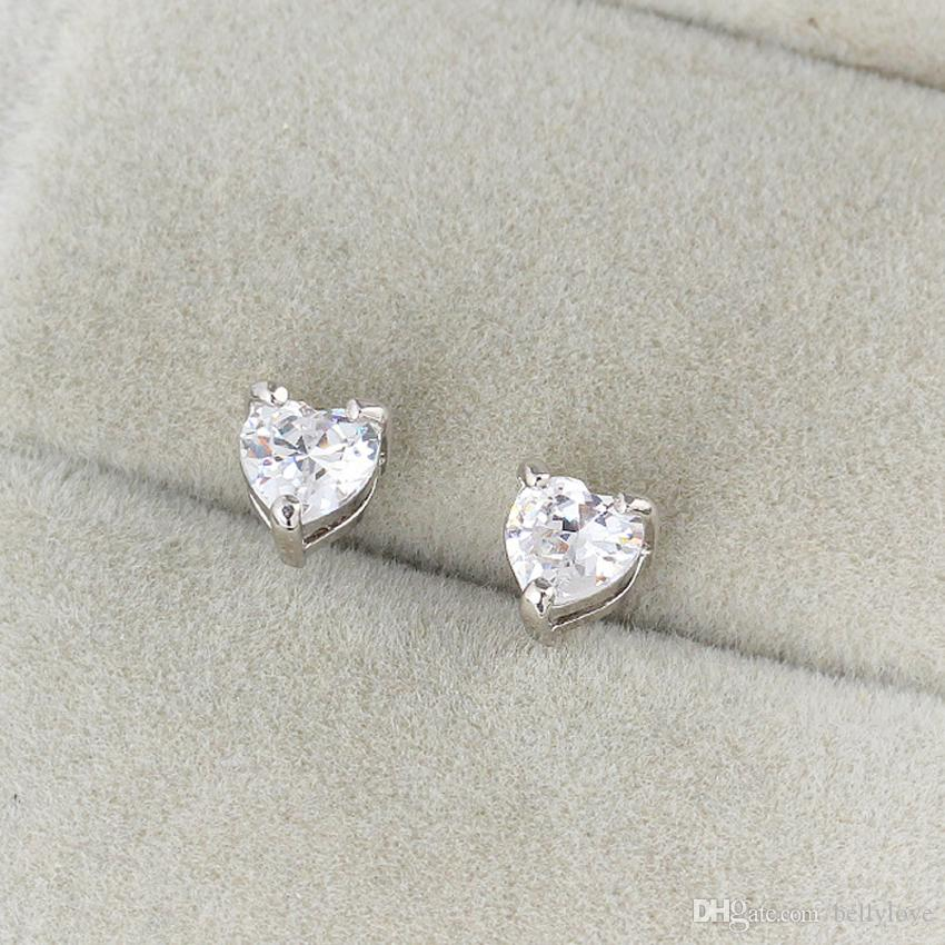 0e05d13b6 2019 Kids Jewelry 18K White Gold Plated Cubic Zirconia CZ Heart Stud  Earrings Anti Allergic Jewelry For Children Girls Hot Gift From Bellylove,  ...