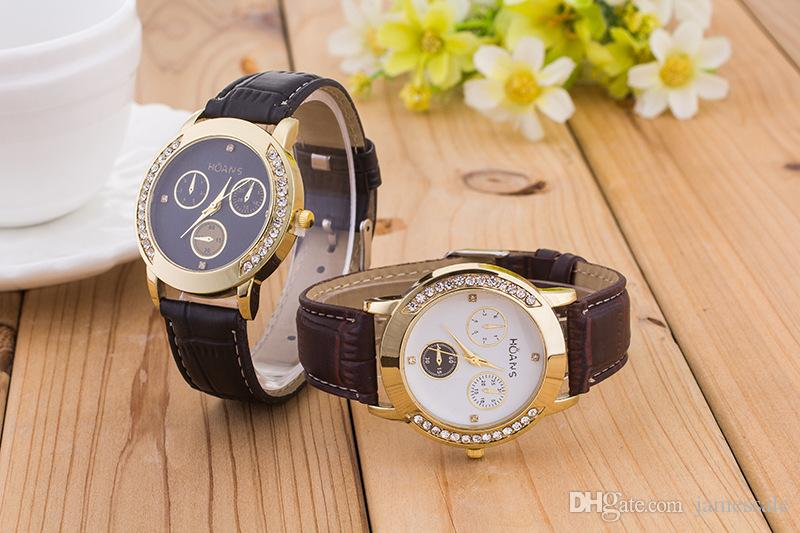 Speed sell tong Geneva watches sell like hot cakes Fashion leather watch British wind business pointer diamond table