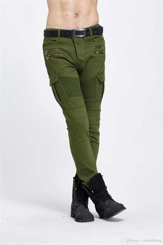 Mens Ripped Biker Jeans Homme Marca Bolsillos Múltiples Pantalón Cargo Army Green Hombre Lápiz Plisado Slim Hip Hop Denim Jeans