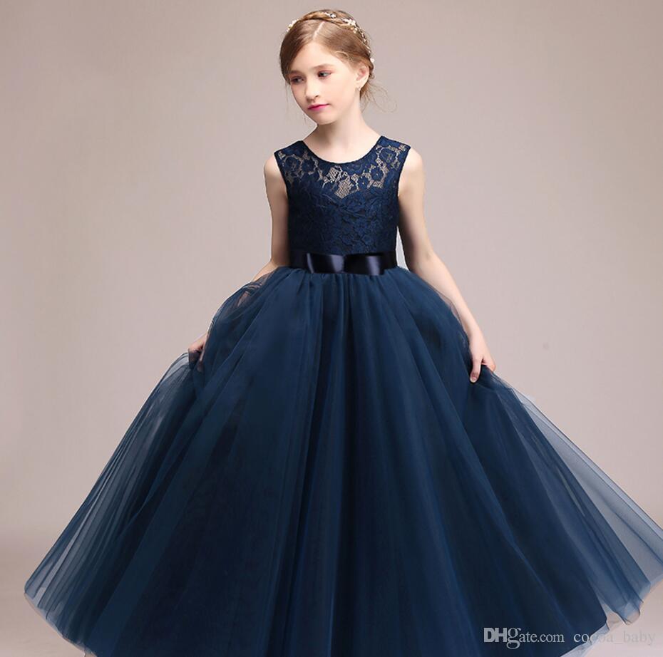 3f60c0f70 Compre Niños Niñas Boda Vestido De Niña De Las Flores Vestido De Princesa Fiesta  Vestido Formal Sin Mangas Vestido Largo Para Niña Adolescente 5 14 Años De  ...