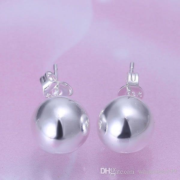 Großhandel - niedrigster Preis Weihnachtsgeschenk 925 Sterling Silber Mode Ohrringe 10mm E87