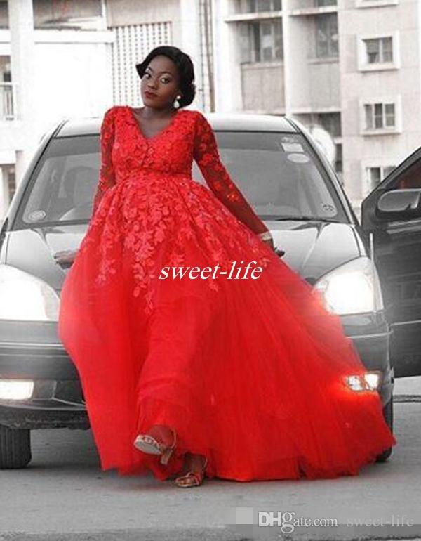 Más el diseño árabe Diseño de encaje rojo Vestido de noche con apliques Con cuello en v Ilusión Manga larga Vestidos de baile de tul Vestidos de fiesta sexy formales Vestidos de baile