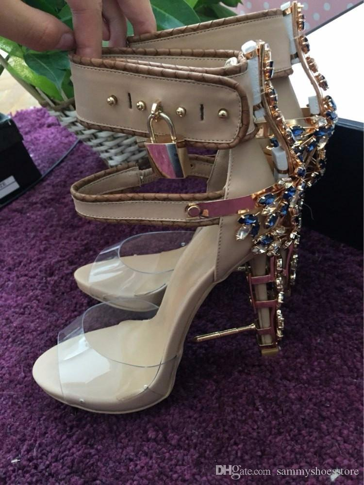LTTL New Luxury Rhinestone Cover Nail Heel Women Sexy Sandals PVC Ankle Buckles Ladies Unique Party High Heels Lock Side Shoes