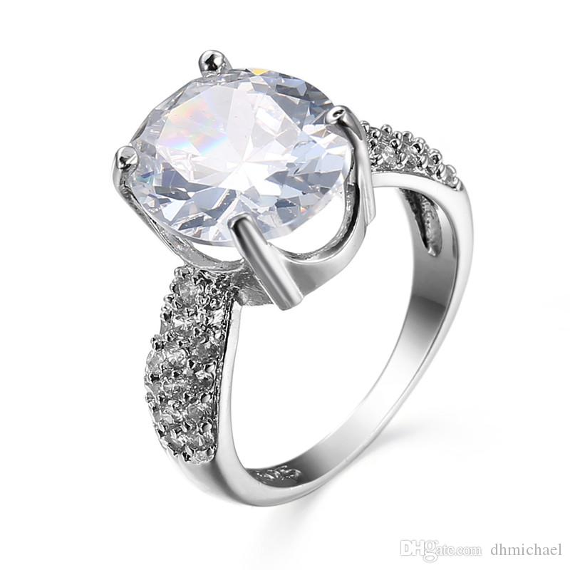 Sz6-10 Simple OVAL Zricon CZ Gems White Gold Filled Engagement Wedding Promise Ring Hot