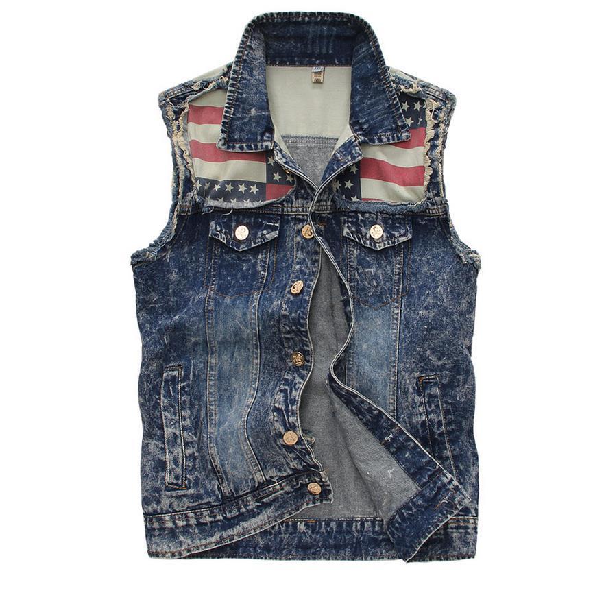 2018 wholesale brand new american us flag denim vest for Mens sleeveless denim shirt wholesale
