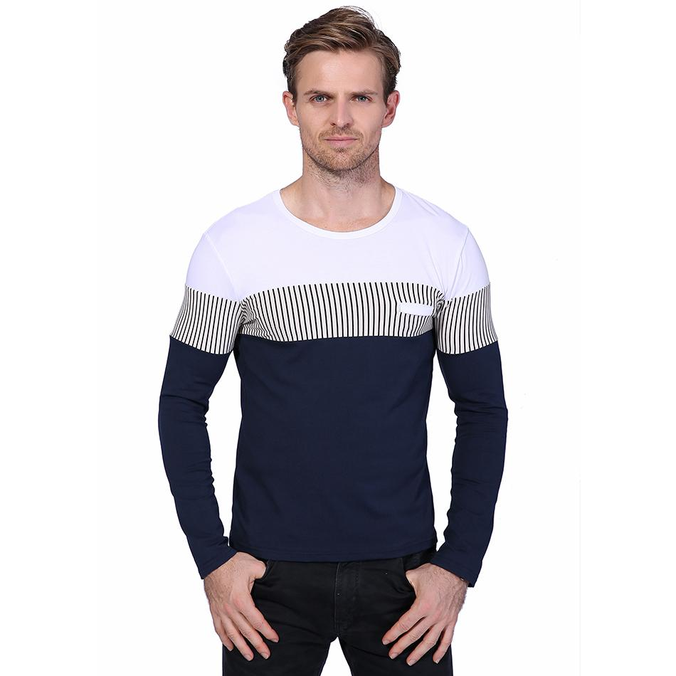 f13465c7da23 New Fashion Classic Patchwork Stripe Men s T Shirt Spring Long Sleeve Slim  Fit Tops Tees Casual Mens Cotton T Shirts M-5XL YH-029 Men Tshirt Short  Sleeve T ...