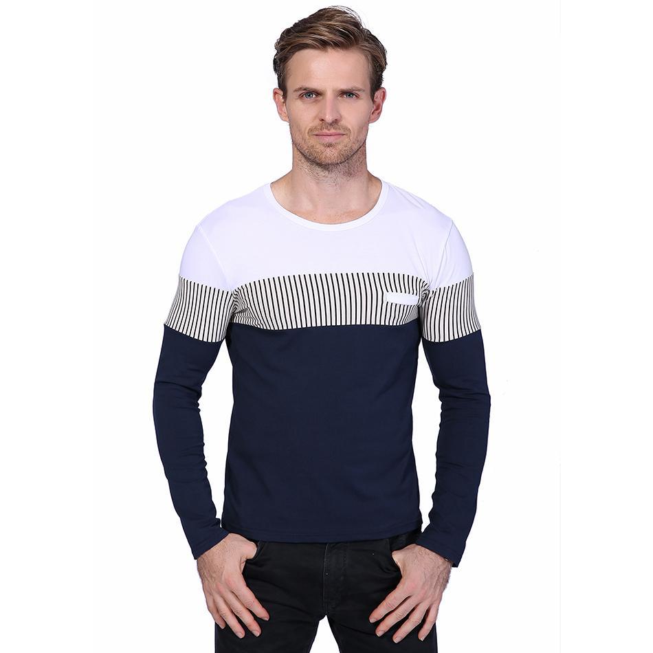 6888da7266b5 New Fashion Classic Patchwork Stripe Men s T Shirt Spring Long Sleeve Slim  Fit Tops Tees Casual Mens Cotton T Shirts M-5XL YH-029 Men Tshirt Short  Sleeve T ...