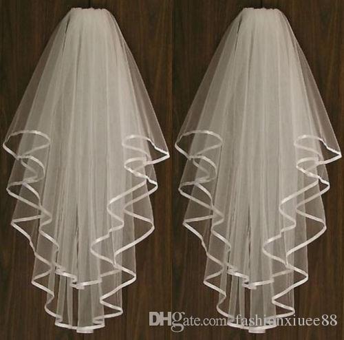 Новый белый или слоновая кость 2 т свадебные фата аксессуары невесты женщины Атлас края с гребнем длина локтя