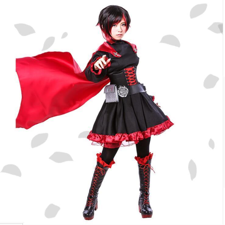 Oisk Best Quality Ruby Rose Cosplay Rwby Red Dress Cloak Battle