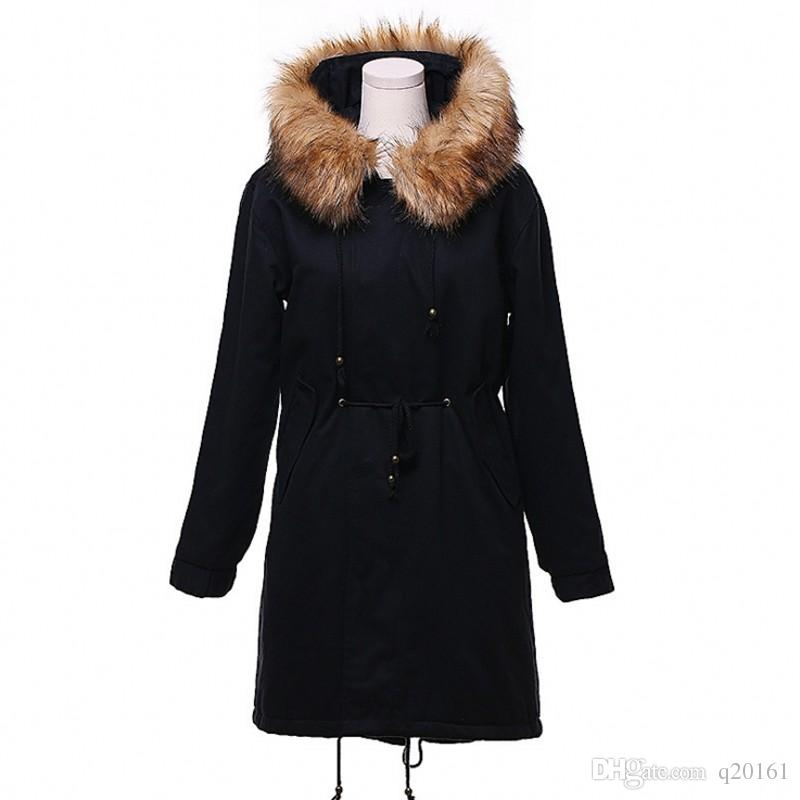 69f09ea8bf 2018 Women Winter Jacket Fake Fur Collar Parka Thick Snow Wear Coat Lady  Clothing Berber Fleece Female Jackets Girls Parkas Women Lambs Wool Winter  Jacket ...