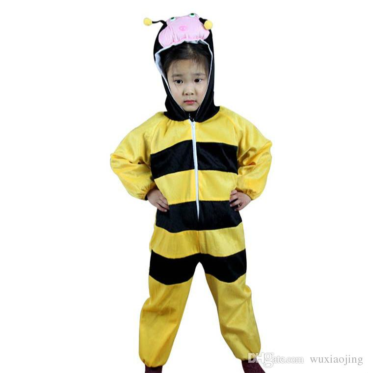 yellow bee costume children halloween costumes animal lint perform clothing cosplay apparel theme birthday party supplies gift group costumes for teens - Childrens Funny Halloween Costumes