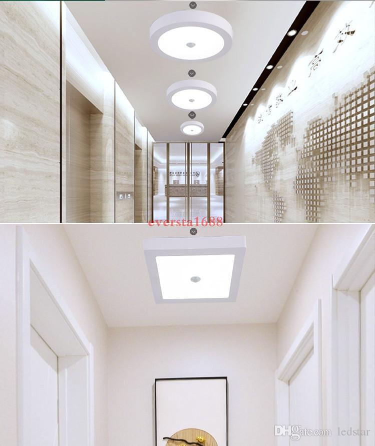 Датчик движения PIR Накладной светодиодный светильник 6W 12W 18W Светодиодный настенный светильник на потолке Встраиваемый потолочный светильник AC 85-265