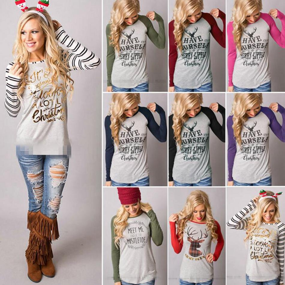 b69e0da84178 Christmas T-Shirt Women Xmas Elk Shirts Santa Claus Tops Long Sleeve ...