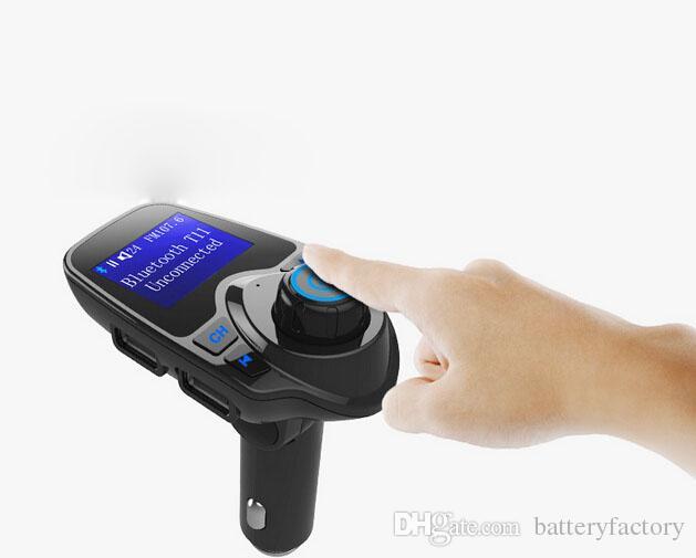 T11 sans fil voiture lecteur mp3 affichage lcd kit mains libres bluetooth soutien U disque carte TF TF mains libres appel avec forfait vente au détail