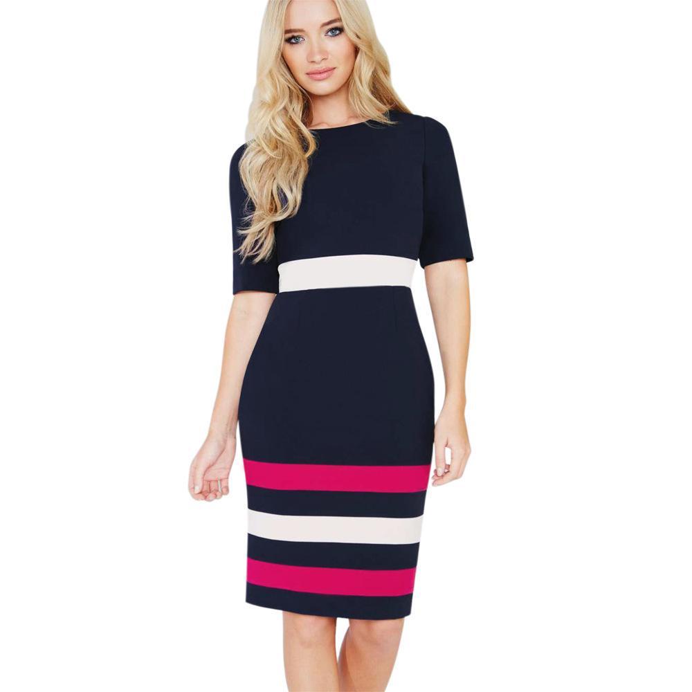 2018 Party Dresses Fashion Amazon Cotton Blending Round Neck In ...