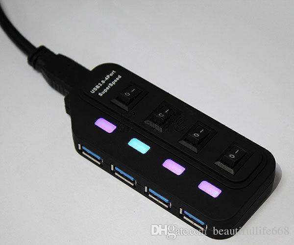 Yeni Harici USB HUB 4 Port USB On / Off Anahtarı ile PC Laptop Için USB Hub 5 Gbps Hız