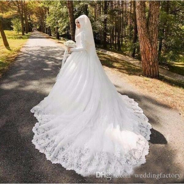 Vestidos de casamento islâmico de alta neck modesto mangas compridas vestidos de noiva muçulmano do laço do vintage apliques grande vestido de noiva com trem
