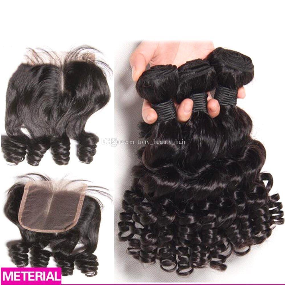 4 Adet / grup Kabarık Kıvırcık Saç Dantel Kapatma Ile Moğol Bakire Funmi Saç Kapatma Ile Romantizm Curl Teyze Funmi Saç 4x4 Üst Kapatma