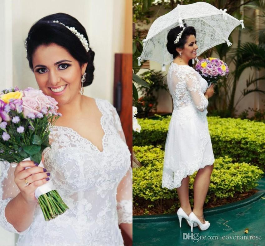 Suosikki 2017 High Low Short Front Long Back Beach Wedding: Discount Country Beach Wedding Dresses 2017 Lae 3/4 Long